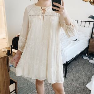 Anthropologie Cream & Embroidery Detailed Dress